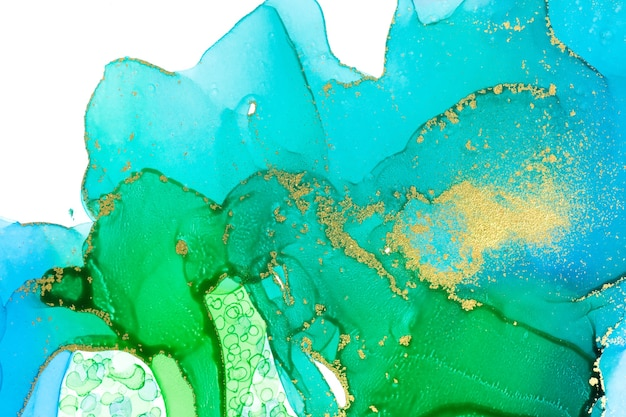 Aquamarine alcohol ink gradient texture abstract watercolour background with gold powder