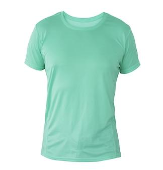 あなたのデザインのモックアップのために白い背景で隔離の目に見えないマネキンのアクアマリンtシャツテンプレート