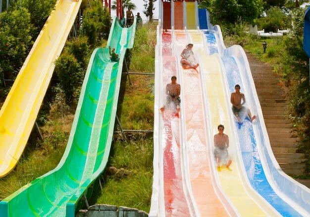 Aquapark constructions in swimming-pool