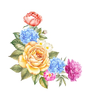 Aquarelle flowers on watercolor isolated