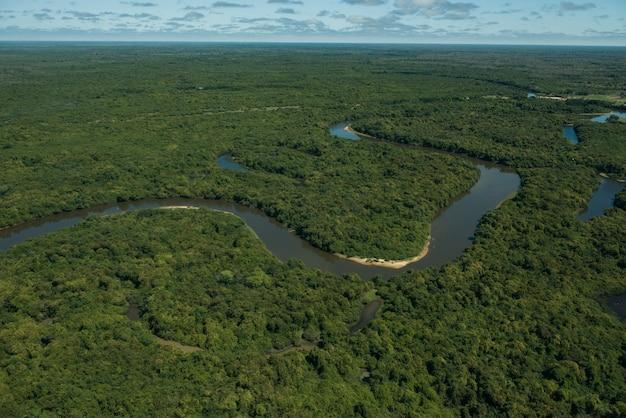 Аквидауана, мату-гросу-ду-сул, бразилия: вид с воздуха на рио-негро (черная река), на бразильских водно-болотных угодьях, известный как пантанал