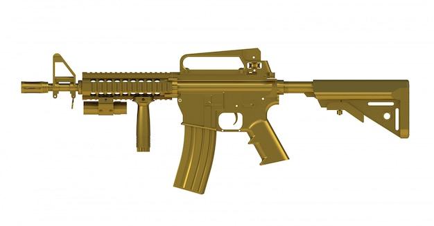 Рядом с золотым автоматом ar15 модель mk18 mod1 на белом фоне