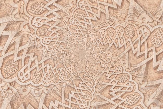 イスラム文化に再委任するアラブの背景。モスクの13世紀の建築の細部にドロステ効果を使用して作成されたデザイン。