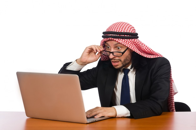 Arab businessman with computer
