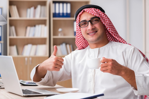 Arab businessman working in the office