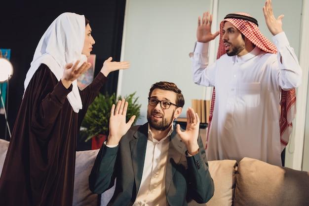 Arab couple at therapist reception quarrel