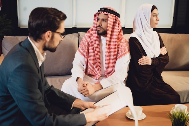 Arab married couple in quarrel at psychologist