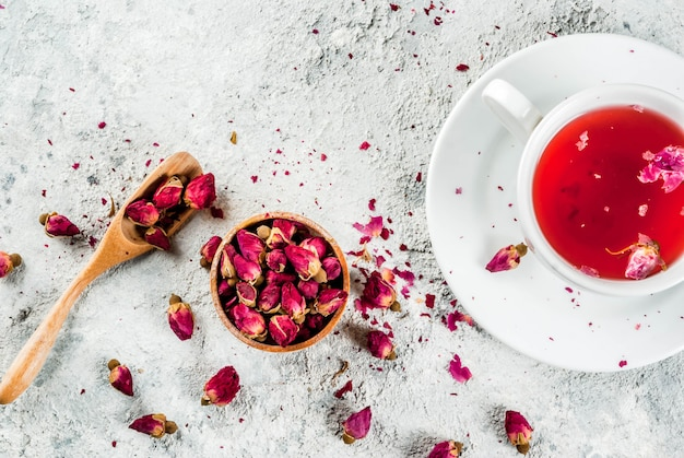 Arab, middle eastern food. herbal tea with rose buds