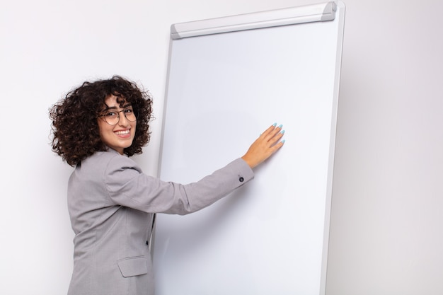 Arab pretty woman with a white board. business concept
