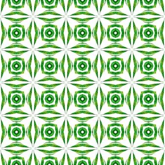 アラベスクの手描きデザイン。緑のスタイリッシュな自由奔放に生きるシックな夏のデザイン。テキスタイル対応の価値のあるプリント、水着生地、壁紙、ラッピング。東洋の唐草の手描きの境界線。