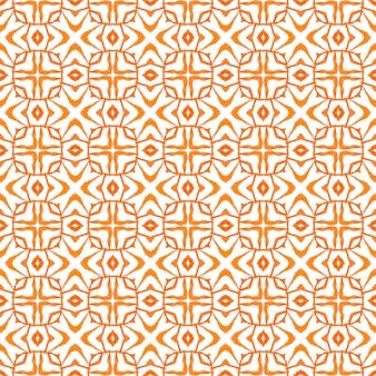 アラベスク手描きデザイン。オレンジ色のポジティブな自由奔放に生きるシックな夏のデザイン。テキスタイル対応の理想的なプリント、水着生地、壁紙、ラッピング。東洋のアラベスク手描きの境界線。