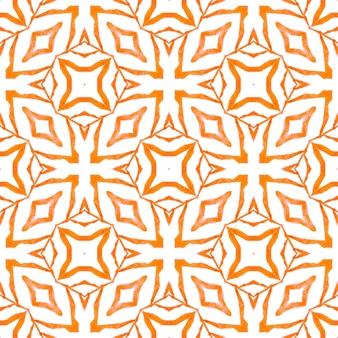 アラベスク手描きデザイン。オレンジ色の輝く自由奔放に生きるシックな夏のデザイン。東洋のアラベスク手描きの境界線。テキスタイル対応の好感の持てるプリント、水着生地、壁紙、ラッピング。
