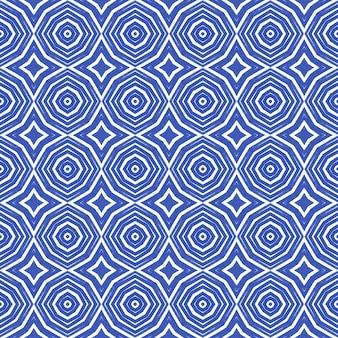 アラベスクの手描きパターン。インディゴ対称万華鏡の背景。テキスタイルレディプレシャスプリント、水着生地、壁紙、ラッピング。オリエンタルアラベスク手描きデザイン。