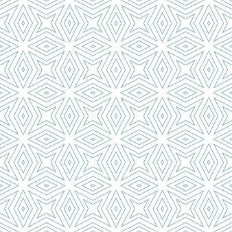 アラベスクの手描きパターン。ターコイズ対称の万華鏡の背景。テキスタイルレディのエモーショナルプリント、水着生地、壁紙、ラッピング。オリエンタルアラベスク手描きデザイン。
