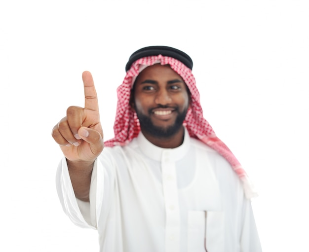 Arabian african man with finger on screen - ready for your message