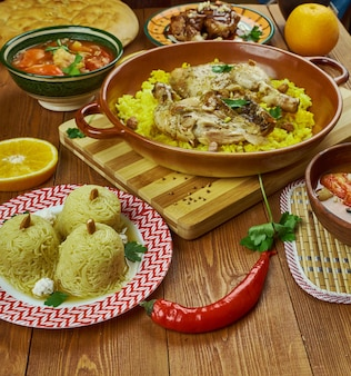 Arabian cuisine - traditional assorted  dishes, top view.