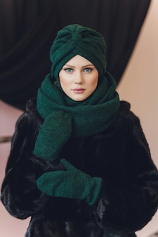Arabian lady wearing wool cap