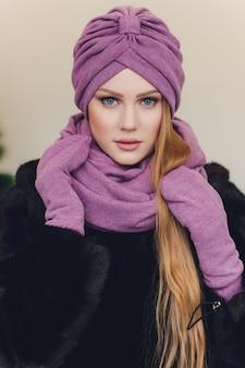 Arabian lady wearing wool cap
