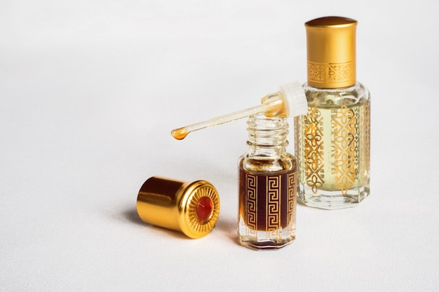 Arabian oud attar perfume in mini bottles.