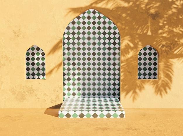ヤシの木陰のアラビアンスタイルの製品プレゼンテーションスタンド