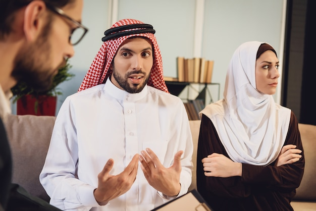 Arabian wife resent on husband at reception