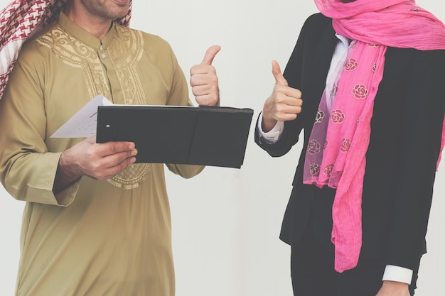 Arabic business couple working in office