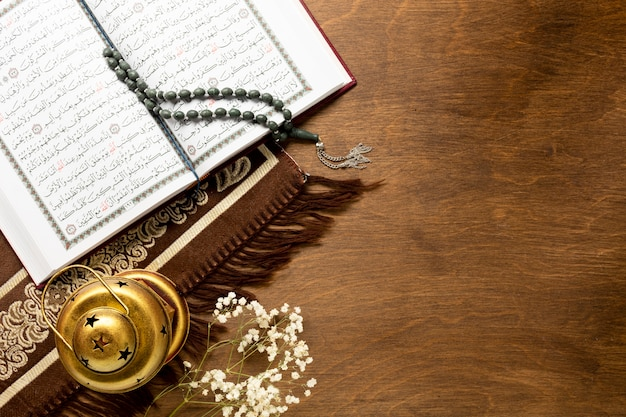 Arabic elements and quran flat lay