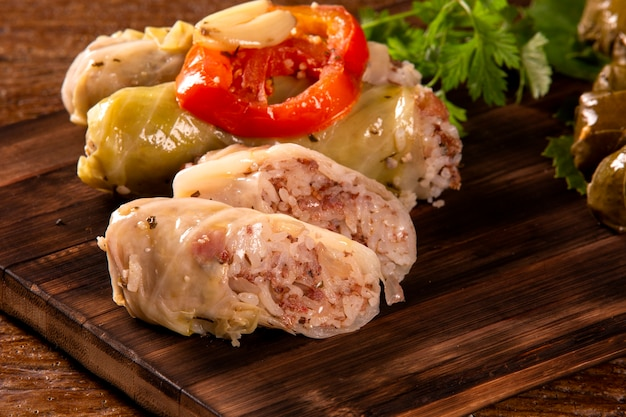 Arabic food. appetizing cabbage rolls on wood background