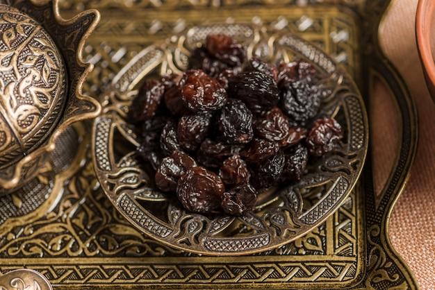 Arabic food concept for ramadan with raisins