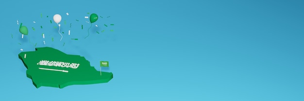 Arabic map for social media and website background cover to celebrate national shopping day and national independence day in 3d rendering