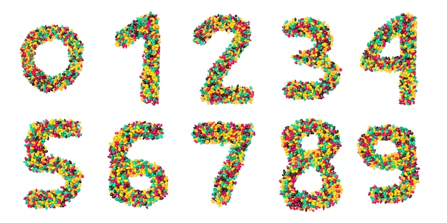 Arabic numerals made from multicolored round chocolate