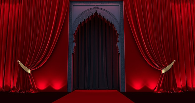 Arabic oriental styled door, black arabic door with red curtain
