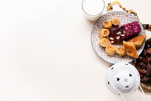 Arabic pastries arrangement flat lay