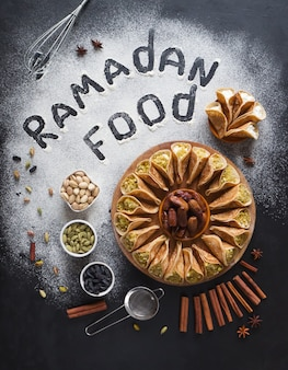 Arabic pastry background with the inscription ramadan food.