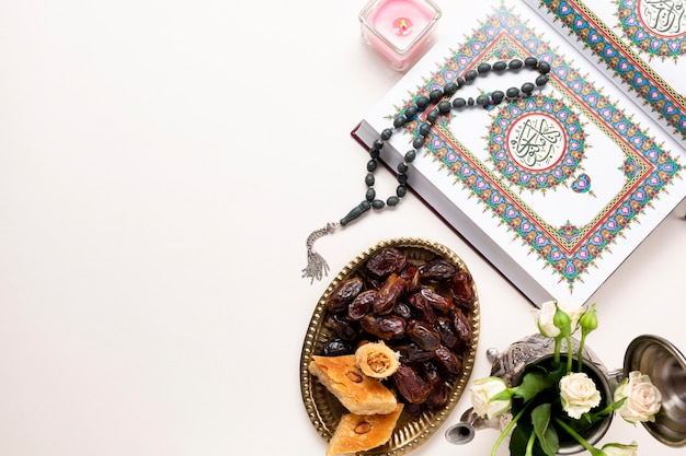 Arabic spiritual arrangement flat lay