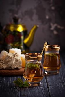 Arabic tea with turkish delight and halva