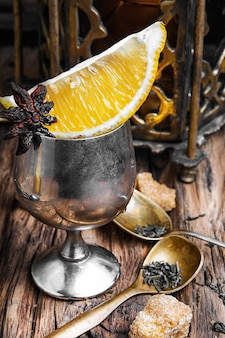 Arabic tea on wood background