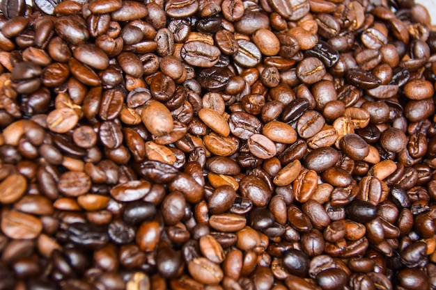 Arabica coffee beans that are roasted, baked and graded