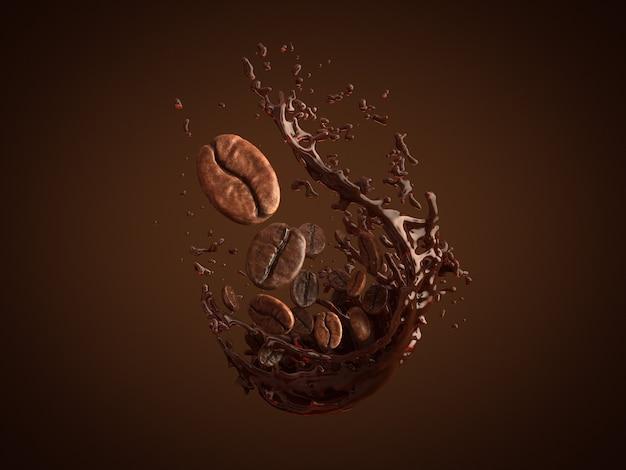 Arabica and robusta coffee beans on splash coffee