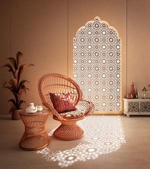 Интерьер в арабском исламском стиле, кресло из ротанга и арабский узор в окне с тенью