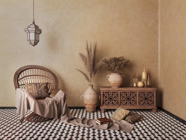 Интерьер в арабском исламском стиле, кресло из ротанга, вазы с сухими цветами, коричневая стена и узорчатая напольная плитка.