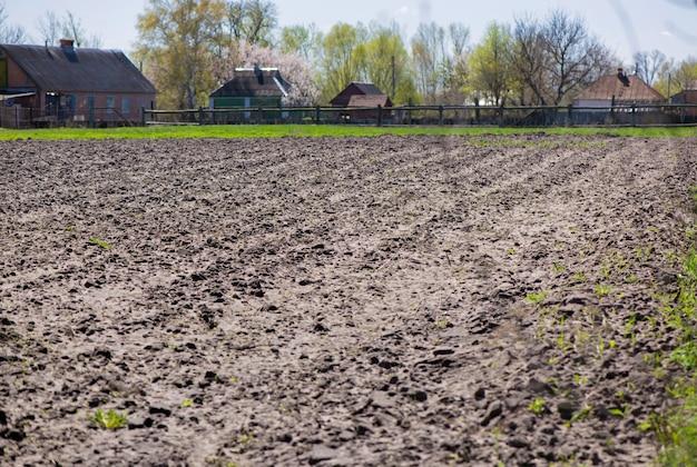 耕地。春に開かれた作物の畑