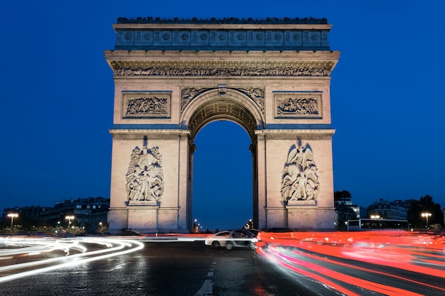 Arc de triomphe by night, paris france
