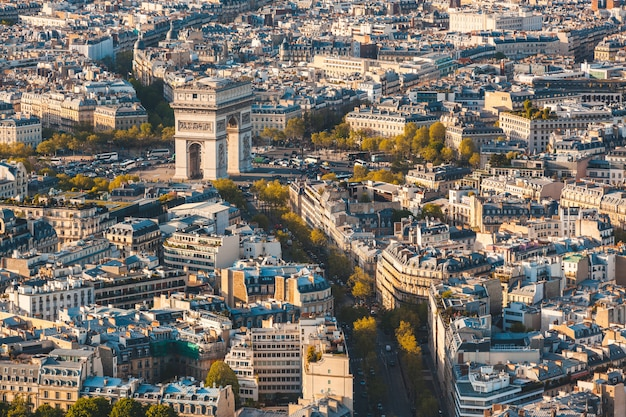 Arc de triomphe in paris aerial panoramic view
