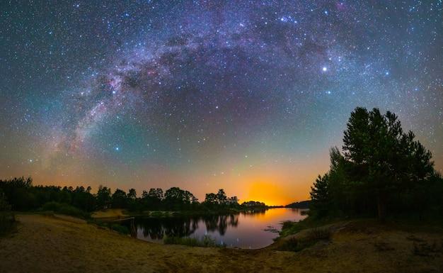 호수 위의 은하수, 야간 촬영