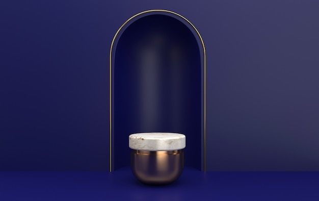 Arc with a marble pedestal in blue colors, cylindrical gold platform, minimal portal with gold frame, 3d rendering, scene with geometrical forms, minimal abstract background