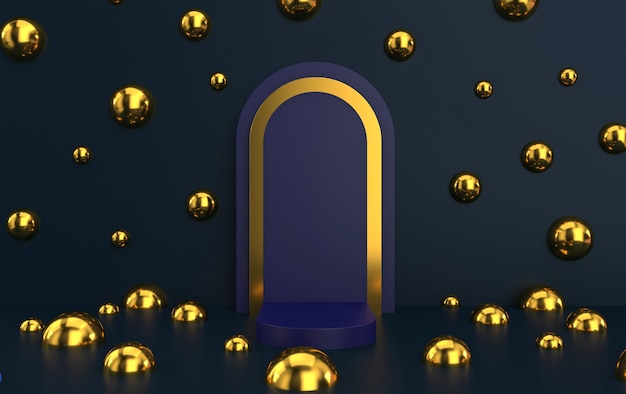 Arc with a podium in deep blue colors, minimal portal with gold frame, 3d rendering, scene with geometrical forms, abstract background with golden balls