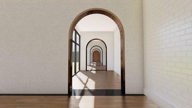 Arch corridor interior with windows light and wooden floor .