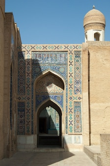 The arch and the exterior design of the ancient registan in samarkand architecture of central asia