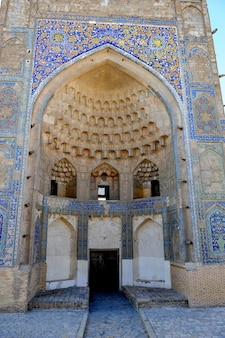 The arch and gates of the ancient asian traditional ornament architecture of medieval central asia